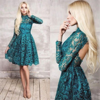 Charming A Line Longueur au genou Lace Prom Robes High Neck Hollow Back Long Sleeve Short Prom Gown Ruffles Teal Evening Party Gowns