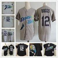 Wholesale Shorts Size 12 - Mens Tampa Bay Rays #12 Wade Boggs VINTAGE Baseball Jerseys Pullover Mesh BP Throwback Cooperstown Black White Gray Jersey Size Small-4XL