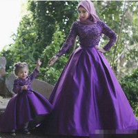 Wholesale Miss Mes - Vintage Long Sleeves High Neck Prom Dresses A Line Beaded Appliques Long Satin Arabic Dubai Style Mother Daughter Dresses Mini Me Gowns