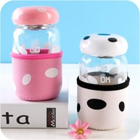 Wholesale Glass Bottles For Lid - Creative Cute Glass Bottle for Scented Tea Portable Cup with Stainless Steel Strainer and Mashroom Shape Lid