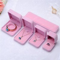 Wholesale Creamy White - Fashion Jewelry Boxes Pink&Creamy-white Velvet Ring Earrings pendant Necklace bracelet bangle Classic Show Luxury Octagonal Gift Case Box