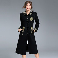 Wholesale natural bamboo beads - 2018 winter luxury brand designer women's coats woolen blend classy jackets coats beading gold Embroidery runway clothing black XL G827