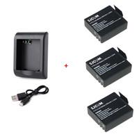 Wholesale rechargable cameras - SJCAM Camera USB Dual Slot Battery Charger with 3pcs 3.7V 900mAh Rechargable Battery for SJCAM SJ4000 SJ5000 M10 Series Camera