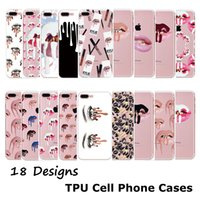 Wholesale Nail Polish Cases - Cell Phone Cases For iPhone 6S 7Plus Samsung S6 s7 edge Nail Polish Sexy Lips Kylie Jenner Lip Crystal Transparent Soft TPU Phone Cover Case