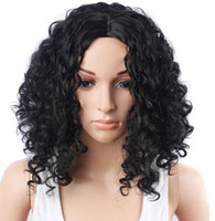 Wholesale American Curls Hair - Wignee mixed the Cosplay, a blend of black and black hair, to African and American women Amil Flo curled artificial wig and comb for black