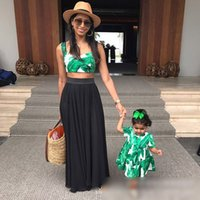 Wholesale Mother Baby Dresses Set - Mother and daughter clothes baby girls banana leaf printed dress+mother printed suspender tank top 2pcs sets family beach clothes C1035
