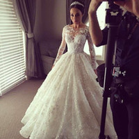 Wholesale Long Sleeved Dresses Cheap - 2016 Spring Wedding Dresses Sheer Cheap lace long sleeved beaded lace illusion Vestido de noiva buttons Bridal Gowns Plus Size Custom made