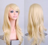 Wholesale Long Curly Blonde Pink Wigs - Stylish Curly Hair pad Light Blonde wig Cospaly 70CM Young long Synthetic Hair Perruque peluca feminina peruca Lolita
