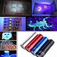 Wholesale Torchlight Wholesales - Portable 9 CREE LED UV Light Flashlight Hiking Torchlight Aluminium Alloy Money Detecting LED UV Lamp Light with Box fast shipping