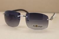 Wholesale Inside Lens - Genuine Natural Buffalo horn White inside Black Rimless Sunglasses glasses men famous brand Frame Size:62-18-140mm
