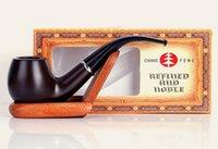 ebenholzrohr freies verschiffen großhandel-Freies verschiffen echt Feine neue Rauchen Zubehör Lobular ebenholz rohr Rauchen Rohre 9mm filterkern von tabakpfeife rauchen set