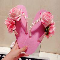 Wholesale Thick Bottom Flip Flops - Wholesale-Cute pink flowers slippers summer thick bottom fashion tide beach pearl sandals flat handmade women flip flops