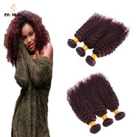 Wholesale Remy Hair Dark Wine - Fashijia burgundy mongolian kinky curly virgin hair 3pcs 8-30 inch dark wine red remy human hair extension for black women jerry curl