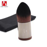 Wholesale black slender - Makeup Artist Short Slender Wood Handle Dense Straight Synthetic Hair 110 Medium Precision Tapered Foundation Kabuki Brush