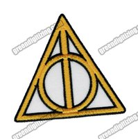 Wholesale Iron Harry Potter Patch - Wholesale Movie HARRY POTTER Symbol DEATHLY HALLOWS Embroidered Patch Iron On Garment DIY Applique Cloth Patch Free Shipping