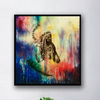 Wholesale Huge Abstract Oil Painting - Unframed Modern Abstract Oil Painting Native American Huge Wall Decor On Canvas