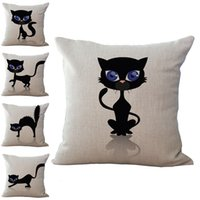 Wholesale Simple Linen Cushion Cover - Simple Black Cat Pillow Case Cushion cover Linen Cotton Throw Pillowcases sofa Bed Pillowcover DROP SHIPPING