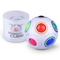 Wholesale 3d Puzzle Ball Game - IN STOCK Magic Cube Speed Rainbow Ball Football 3D Magic Cube Kids Educational Learning Toy game for Children Wholesale
