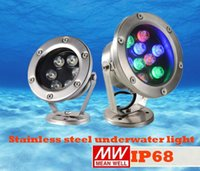 Wholesale Dc 12v Water Lamp - led Outdoor IP 68 Lighting LED Under Water Floodlights RGB LED Swimming Pool light 24V 12V Fountain Lights 3w 5w 6w 12W 9W underwater Lamps