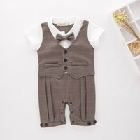 Wholesale Toddler Striped Bow Ties - Retail Baby Boys Rompers Stripe Bow Tie Waistcoat Gentleman Summer One Piece Jumpsuits +Cap Toddler Clothes E13392