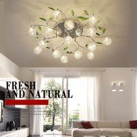 aluminium-lampe design großhandel-AC110V 220V moderne Kunst Design LED Kronleuchter Glanz Aluminium Draht Lampe Kronleuchter Kristall grünes Blatt Dekor Crystal Ball Deckenleuchte