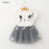 Wholesale Korean Outfits For Girls Kids - Cute Cartoon Cat TUTU Set For Baby Girl Outfits Clothes Summer Kid Short Sleeve T-shirt Top+Mini Skirts 2PC Suit Korean Kid Tracksuit