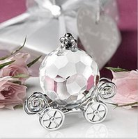Wholesale Wedding Craft Crystal - Solid color Crystal Pumpkin Carriage Figurines With Gift Box Crafts Art&Collection Baby Shower Gift Souvenir Home Wedding Decoration
