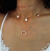 Wholesale celtic moon pendant - New Moon Coin Pendant Necklace Silver Gold Chains Multilayer Choker Necklace Women Fashion Jewelry Gift Drop Shipping