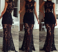 Wholesale China Skirts Floor Length - Sexy 2017 Black Lace Mermaid Floor Length Prom Dresses Long Cheap High Neck Sheer Skirt Formal Party Gowns Custom Made China EF7041