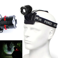 Wholesale Head Light Diving - LED Headlight Zoom Headlamp CREE XM L T6 LED 3 Modes Head Light Lamp Zoomable Flashlight Adjust For Hiking Camping