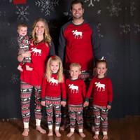 Wholesale Pjs Women - Xmas Pajamas For Family Matching Outfits Set Deer Adult Women Kids Baby Reindeer Sleepwear Nightwear Pjs Clothing Christmas