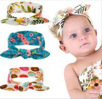 Wholesale Hiar Flower - Xmas Infant Baby Girls Flower Headbands Toddler Fashion Bunny ear Hairbands Bebe Cotton Cartoon Headwear 2017 kids Hiar accessories