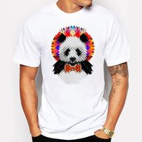 Camping Hiking T-Shirt Summer Panda T-Shirt Mens Cool Cute animal Cartoon Stampa T Shirt Bianco hip hop divertente Casual Tshirt maglietta homme