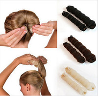 Wholesale Used Middle - New Fashion 20pcs (10sets) Sponge Hair Styling Donut Bun Maker Magic easy using Former Ring Shaper Styler Hair Accessories Tool 3 colors