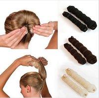 pains d'éponge magiques achat en gros de-Nouveau mode 20pcs (10sets) éponge cheveux style Donut Bun Maker Magic facile à l'aide de l'ancien anneau Shaper Styler cheveux accessoires outil 3 couleurs