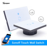 Alta qualidade Smart Home Itead Sonoff toque Wifi Switch UE EU Inteligente Light Wireless Painel de vidro Smart Switch Remote Control Via mobilePh