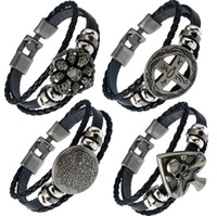 Wholesale ceramic piece bracelet for sale - Group buy Brand new Buttoned braided leather bracelet skull leather necklace FB423 mix order pieces a Slap Snap Bracelets