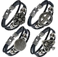 Wholesale Snap Necklace Clasp Plastic - Brand new Buttoned braided leather bracelet skull leather necklace FB423 mix order 20 pieces a lot Slap & Snap Bracelets