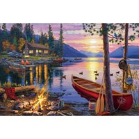 Wholesale Landscape Lighting Paintings - Landscape sunset Seaside Villa 100% DIY Full Drill Diamond Painting 5D Diamond Mosaic Cross Stitch Embroidery Needlework Home Decor