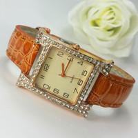 Wholesale Cheap Gifts Made China - New Fashion Luxury Imitation Diamond Round Quartz Women's Leather Watch Made in China Cheap Gifts Watch Mixed Color