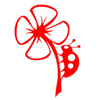Wholesale Red Flower Nature Wholesale - Wholesale 10pcs lot Lady Bug on Flower Nature Art Graphics Full of Fun Car Sticker for Truck Window Bumper Door Kayak Cute Fun Vinyl Decal