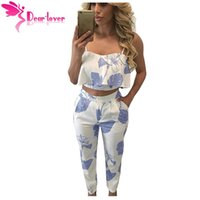 Wholesale womens clothing office - Womens Suits Summer Office Vintage Blue Mottled Print Frill Crop Top and Long Pant Set 2 Piece Clothes Outfit LC62056 17410