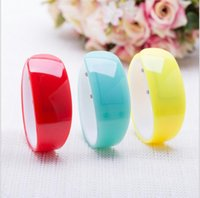 Wholesale soft touch watches for sale - Group buy Fashion Touch Screen Red LED Watches Ladies Men Rubber Bracelet Soft Silicone Electron Watches Holiday Gifts