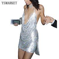 halter v neck pencil dress venda por atacado-Clube De Lantejoulas De Ouro branco Mini Celebridade Vestidos Halter Partido Mulheres Super V Neck Sem Mangas Sexy Backless Magro Lápis Vestidos E856