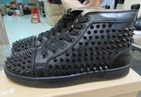 Wholesale Elastic For Beading - High Top Studded Spikes Casual Flats Red Bottom Luxury Shoes 2016 New For Men and Women Party Designer Sneakers Lovers Genuine Leather