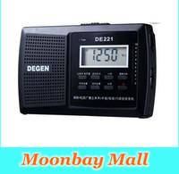 Wholesale dsp speakers - Wholesale-DEGEN DE221 Radio FM Stereo FM1-2   MW   SW1-8 11-band DSP Radio Portable Multiband Radio Receiver Campus Black free shipping