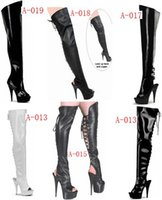 Wholesale Pole Boots - sexy fish mouth 15 cm high heels with knee-high boots appeal conical with knee-high boots , pole dancing