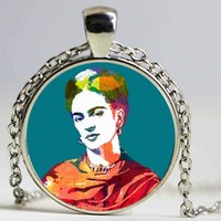 Wholesale Portrait Painting Gift - Painted portraits of Frida Glass Pendant Necklace Women Bronze Plated Romantic time glass necklaces fashion jewelry