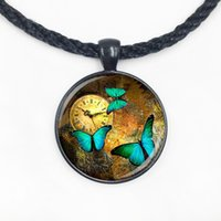 Wholesale Rhinestone Animal Watches - Wholesale Glass Dome steampunk clock pendants steampunk watch necklace Butterfly necklace for friends with high quality
