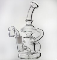 Wholesale Helix Design - new Klein glass helix oil rigs glass bong recycler, two function hollow out design, glass water pipes with female joint